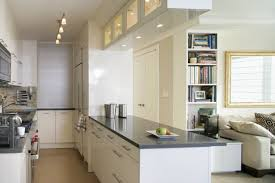 gorgeous track lighting and glossy white cabinet in modern small