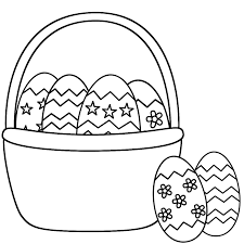 Easter Basket Coloring Pages With Eggs And Two Page Drawing
