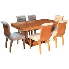 Original Art Deco Birds Eye Maple Dining Table And Chairs