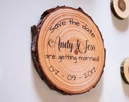 Wood Slice Save The Date Magnets Wooden