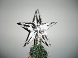 Table Top Tree Topper Tiny Beveled Star With Silver Trim Christmas Bush For