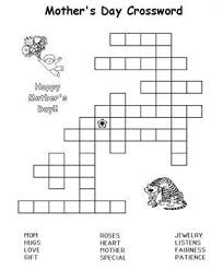 Mothers Day Crossword Puzzle Kids Coloring PagesCrossword