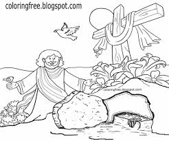 Cave Printable Drawings Holy Cross Of Jesus Happy Easter Coloring Pages For Kids Dove Bird Clipart