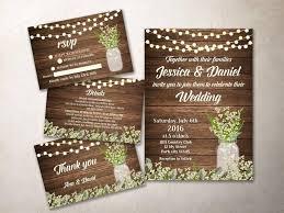 Wedding Invitation Kit Printable Rustic Baby Breath Mason Jar Invite Suite
