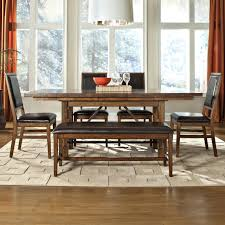 Upholstered Dining Chairs Set Of 6 by 6 Piece Dining Table Upholstered Chair And Bench Set By Intercon