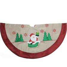 36 Burlap Santa Claus In Sleigh Embroidered Christmas Tree Skirt