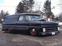 Slammed 1964-66 Chevy Panel Truck With A High Rise Intake And Scoop ...