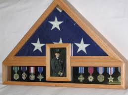 Burial Flag And Medal Display Case Oak 5 X 9