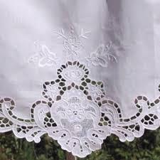 rideau brise bise pointe dentelle ajourée et brodée 100 coton