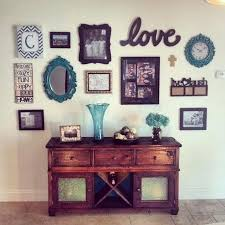Buffet Table Hutch With Wall Collage