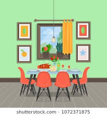10 Dining Room Cartoon Modern Cozy Interior With Table Chairs Paintings Window Indoor