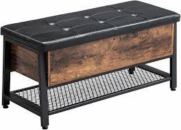 vasagle sitzbank mit stauraum sitztruhe mit gepolsterter sitzfläche und regal 100 x 47 x 40 cm schuhbank betttruhe aus eisen und kunstleder