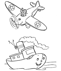 Preschool Coloring Pages Airplane And Ship
