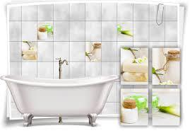 fliesen aufkleber spa wellness seife creme salz blumen pastell bad wc deko