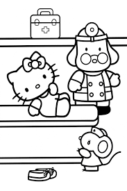 Hide And Seek Hello Kitty Coloring Pages
