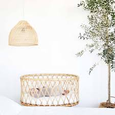 luxury rattan baby crib