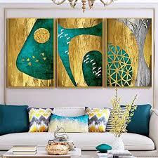 chihie abstrakte geometrische bild grün und gold leinwand