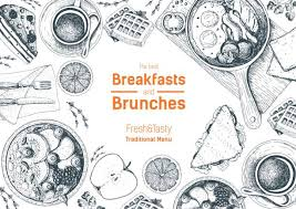 Breakfasts And Brunches Top View Frame Food Menu Design Vintage Hand Drawn Sketch Vector