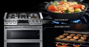 cuisiner au gaz ou à l électricité ny58j9850ws cuisinière au gaz de 5 8 pi avec technologie