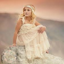 Flower Girl Dress Rustic Vintage Shabby Chic Ivory Lace Country