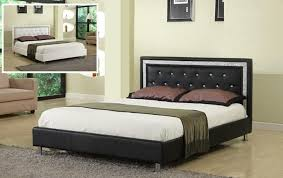 Black Leather Headboard With Crystals by Bedroom Endearing Black Leather Like Vinyl Tufted Queen Size