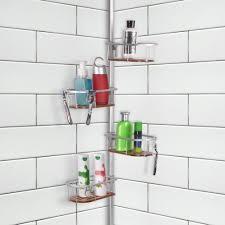 Teak Bathroom Corner Shelves by Tia Rustproof Corner Tension Shower Caddy Teak Shelves Utopia Alley