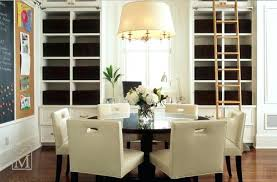 Built In Dining Room Cabinets Large White Drum Pendant Lighting With Gold Brass Accents Over A