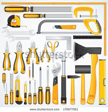 Vector Icons Of Modern Hand Tools Instruments Collection For Metalwork Woodwork Mechanical And