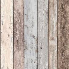 French Provincial Rustic Timber Wood Effect Wallpaper In Dark Grey