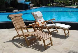 pair of luxury solid teak steamer chairs loungers garden patio