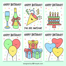 Set of birthday cards with party drawings Free Vector