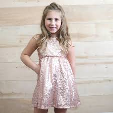 Rose Gold Sequin Flower Girl Dress Blush