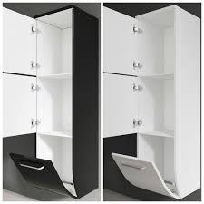 seitenschrank hochschrank midischrank badschrank schwarz weiß badezimmer