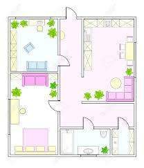 zusammenfassung vektor plan zwei zimmer wohnung mit küche bad kinderzimmer schlafzimmer wohnzimmer esszimmer bibliothek