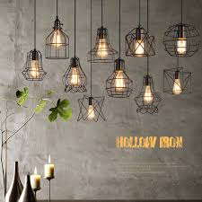 american country pendant light hollow hanging retro room decor chandelier lighting wrought iron bar wohnzimmer le artistic