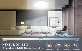 nixiukol 24w led deckenleuchte dimmbar deckenle mit fernbedienung lichtfarbe und helligkeit einstellbar ip54 wasserdichte wohnzimmerle