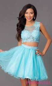 lace top two piece short homecoming dress promgirl