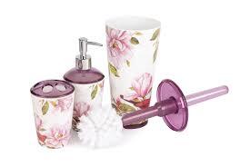 3 tlg bad set seifenspender zahnbürstenhalter wc bürste motiv magnolie pink rosa