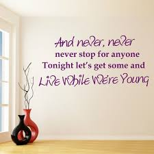 Bedroom Songs by Wall Decal Quotes From Songs Color The Walls Of Your House