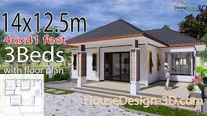 104 Housedesign House Design 3d 14x12 5 Meter 46x41 Feet 3 Bedrooms Hip Roof House Design 3d
