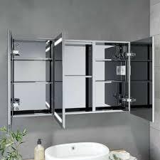 sonni led spiegelschrank bad spiegel badezimmer badezimmerspiegel badschrank mit beleuchtung steckdose 3türig 105x65x13 cm