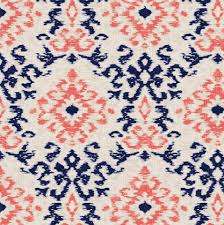 navy and coral ikat damask fabric by the yard coral fabric