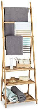 relaxdays handtuchhalter bambus faltbar kleiner kleiderständer 3 ablagen 3 handtuchstangen 4 seitliche haken hxbxt 152 x 53 x 31 cm holz