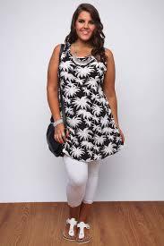 black and ivory palm tree print sleeveless tunic dress plus size