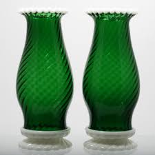 Fenton Burmese Fairy Lamp by Fenton Glass Green Snowcrest Hurricane Lamps Pair Vintage 1950s