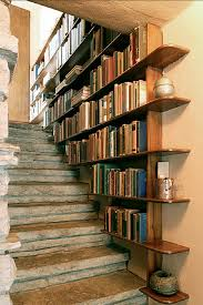 DecorationsRustic Book Shelves Decor With Brown Stone Stair Rustic