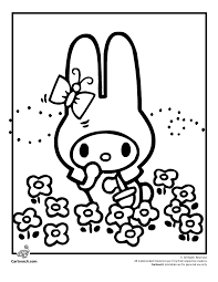 Hello Kitty Coloring Pages Easter Bunny Page Cartoon Jr