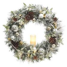 Battery Operated Snowy Silver Pine Artificial Wreath With 30 Clear LED Lights And