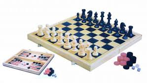 3 In 1 Classic Chess Inlaid Wood Board Game With Wooden Set Folding Checker And Backgammon