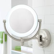 10x 1x led lighted satin nickel wall magnifying mirror with